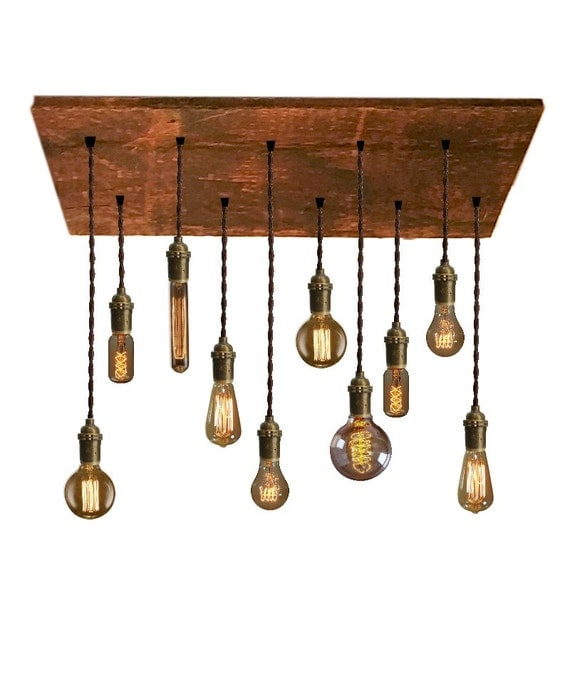 10 pendant reclaimed wood chandelier rustic by hangoutlighting for Wood pendant chandelier