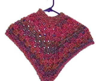 Toddler Girl's Crochet Poncho Size 1 Year Multi Colored Poncho Shade Of Pink And Purple Crochet Poncho Super Soft