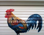 Bread box white with brightly colored rooster hand painted
