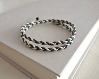 Braided leather bracelet leather wrap bracelet grey white cords leather bracelet  for men for women