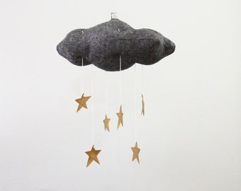 Charoal Black and Gold Star Cloud Mobile - modern fabric sculpture baby nursery decor in linen and metallic faux leather- Free US Shipping