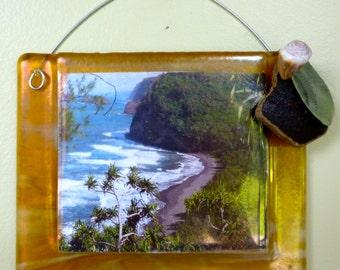 SALE Sandy Shore Frame Shelly Batha Island Fused Glass Big Island of Hawaii