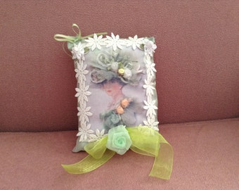 7 inch lavender scented sachet with image of Victorian lady in green