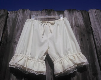 Cream Knee Length Womens Bloomers with ruflles and lace