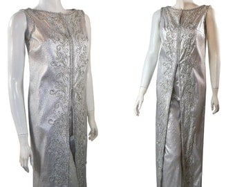 Vintage 1970s Kukulus Original Rock Star Goddess Silver Lame Pants & Tunic Suit with Rhinestones Deadstock Never Worn Tags Attached