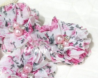 4 pcs Aubrey White w/ Fuchsia Grey Flowers Garden Patterned -Soft Chiffon w/ PINK pearls and rhinestones Mesh Layered Small Fabric Flowers.