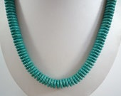 Turquoise Necklace Blue Green Turquoise Necklace Short Turquoise Necklace Beaded Turquoise Necklace Howlite Necklace Turquoise Strand