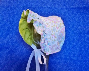Pastel Paisley Baby Bonnet Reversible to Green