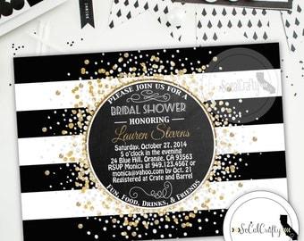 Great Gatsby Bridal Shower Invitation, Printable Invitation, Gold Confetti, Gold Glitter, Chalkboard, Digital or Printed Invitation