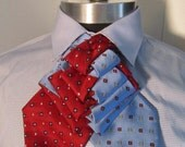 Unisex upcycled Steinkirk, blue and red dots, steampunk, Victorian spin on your everyday tie