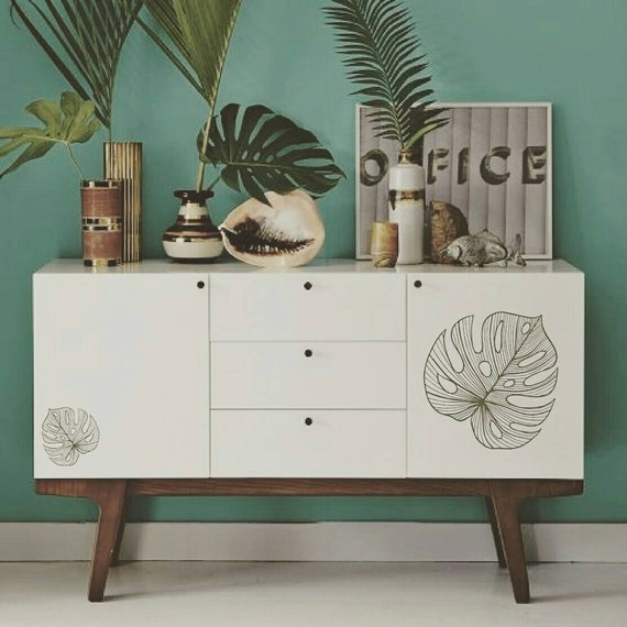 Tropical Monstera Leaf Decor by 3rd Ave Shore - Removable custom Wall Decals - furniture Stickers - Home Decor Handmade in Kailua Hawaii