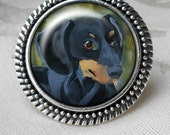 Black and Tan Dachshund Ring ~ Silver Dog Ring ~ Doxie Lover ~ Pet Keepsake ~ March Birthday ~ Gifts for Her