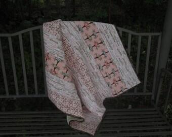 Baby Girl Quilt, Pink and Cream, Flannel and Fleece, Stroller Quilt, Nursery Quilt, Nap Quilt, Nursery Bedding