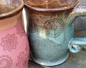 MADE TO ORDER Bohemian Henna Tattoo Coffee Mug tea cup wheel thrown pottery Reiki energy Lightworker Blue Brown Pink Brown Spiritual Cup