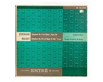 "Ronald Clyne record album design, c.1950. ""Schumann Symphony No. 4 in D Minor / Mozart Symphony No 38 in D Minor"" LP"