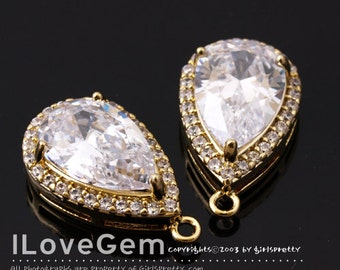 NP-1710 Gold Plated, Cubic zirconia, Drop Pendant, 11X18.5mm, 2pcs