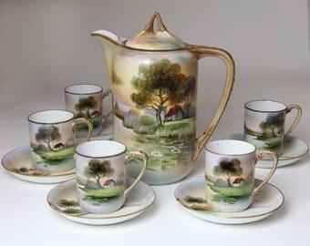 Noritake Tea Set  - Noritake Teapot and Tea Cups  Cottage and Lake with Waterlilies
