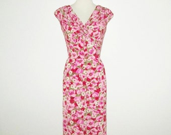 Vintage 1950s 1960s Pink Floral Silk Dress By Marjorie Michael Original California - Size S, M
