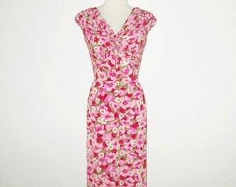 Vintage 1950s 1960s Dress / 50s 60s Floral Dress / 50s 60s Pink Floral Silk Dress By Marjorie Michael Original California - S, M