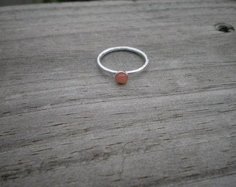 Peach Moonstone Stacking Ring, Sterling Silver, Size 7