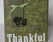 Sew Thankful Sewing Themed Christian Thank You Card With Scripture