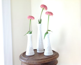 Vintage Milkglass Vases - Set of 3 -