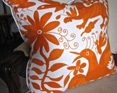 Big BOLD ORANGE Hand Embroidered Otomi Pillow Cover 20 x 20 FAB!