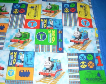 Thomas the Train - Tank Engine in squares - cotton Pillowcase with blue trim - Fits Standard and Queen size pillows