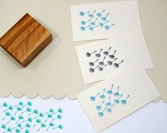 Dandelion Seedhead Cluster Olive Wood Stamp