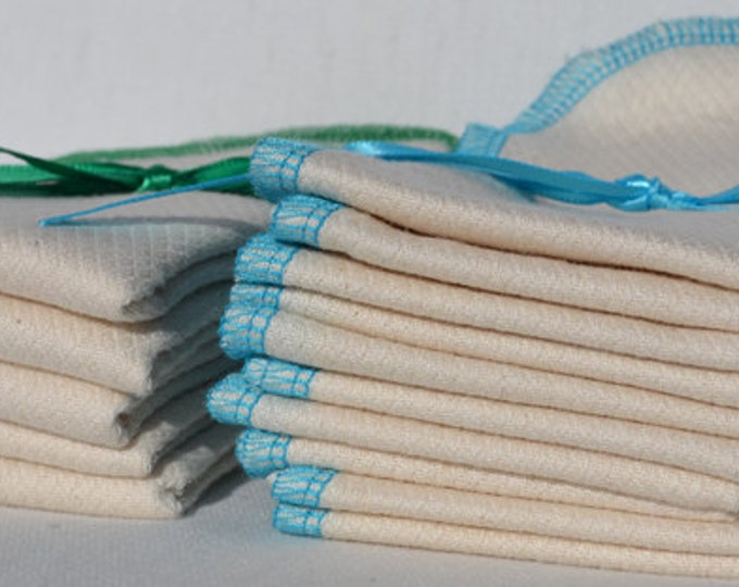Double Thick 11x12  inch 2- Ply Unbleached Birsdseye Cotton Un-Paper Towels Free Shipping in the USA, Your choice of color edging