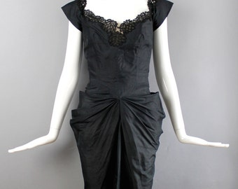 1950s black silk PHILIP HULITAR Modes gathered bustle dress w/ back fin & lace trim RARE vintage