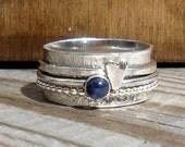 Sapphire & Heart 3 Spinner Ring