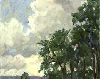 Small Original Oil Painting,From Ozawa Hall, Tanglewood. Berkshires Realist Landscape, 6x8 Plein Air Impressionist Signed Original Fine Art