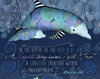 Dolphin / original illustration ART Print Hand SIGNED size 8 x 10