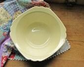 Vintage Scalloped Edge Cream Colored Farmhouse Kitchen Serving Bowl