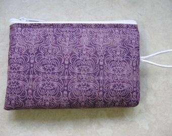 plum print padded makeup jewelry bag