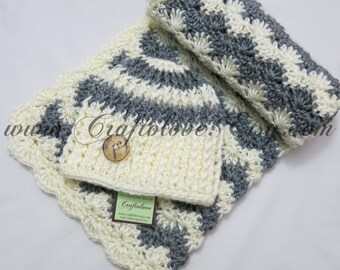 Crochet baby blanket- Baby Boy Shower Gift Set- Baby Boy Blanket- Grey/Off-white stripe Stroller/Travel blanket and hat- Newborn Photo props