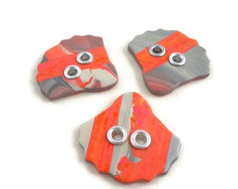 Large focal sewing buttons colorful set of three with grommets orange and gray