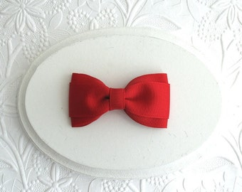 "Red Hair Bow ~ Simple 3"" Toddler Girls Valentine's Day Hair Bow"