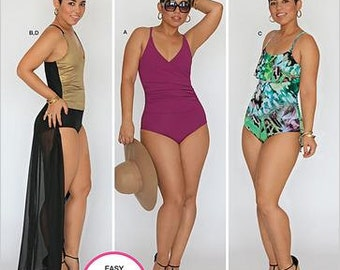 Sz 10 thru 18 - Simplicity Swimsuit Pattern S0415/1116 by MIMI G - Misses' Swimsuit in Three Variations and Wrap Skirt