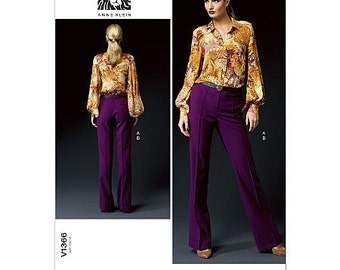 Sz 8/10/12/14/16 - Vogue Pattern V1366 by ANNE KLEIN - Misses' Pleated Sleeve Blouse and Stitched Crease Trousers - Vogue American Designer