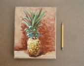 Minimalist pineapple painting unframed or in reclaimed frame kitchen decor original oil painting pineapple art oil on linen