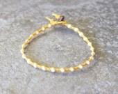 Yellow and White Single Wrap Bracelet Perfect Beach Jewelry
