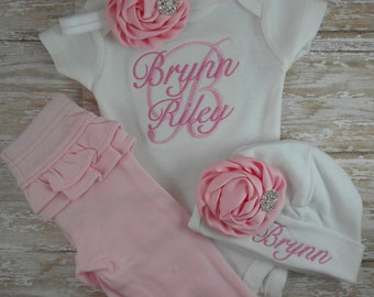 take home outfit, baby girl, pink, embroidered, monogrammed, custom, set, pink, pants, headband, hat, beanie, hospital, coming home, outfit