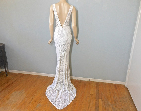 Off White Lace And Tulle Bridal Gown Simple Boho Wedding: Backless Wedding Dress BOHEMIAN Wedding Dress VINTAGE Lace