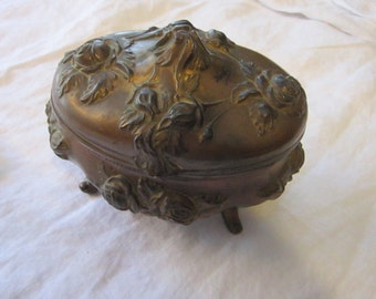 vintage NB Rogers jewelry casket - rose pattern, numbered 812-882 - art nouveau, metal, trinket box