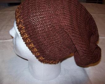 Brown Slouchy Hat, Brown Standard size Hat, Brown Cap, Brown Ski Hat, Fall & Winter Hat, Skull Cap, Beanie, OOAK Hat, Boho Style Hat