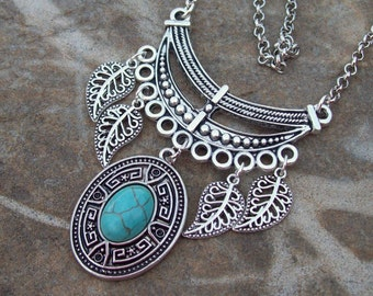 Tribal Gypsy Necklace, long Bohemian Necklace, silver Boho crescent bar necklace with Turquoise pendant