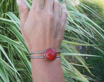 Antiqued Silver Cuff bracelet with Red Jasper Gemstone Cabochon - gemstone bracelet, hippie bracelet, gypsy jewelry