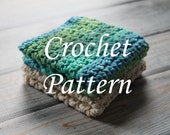 Crochet PATTERN, Crochet Washcloth Pattern 2, Crochet Dishcloth Pattern,Crochet Pattern, PDF Pattern, Spa, Beauty